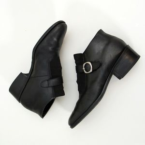 Nicole Vintage Leather Ankle Black Booties